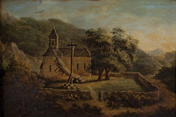 kapelle mit freistehendem kreuz in landschaft by therese holbein