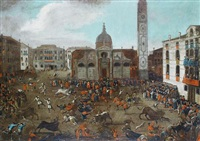 the carnival bullfight in campo santa maria formosa, venice by giuseppe heinz the younger