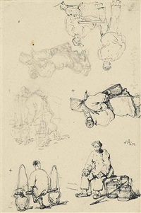 sketches of chinese figures (3 works) by george chinnery