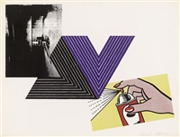 appropriation print (with andy warhol, frank stella and roy lichtenstein) by richard pettibone