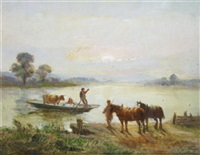 evening by the river (+ waiting for the ferry; pair) by henry earp