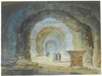 figures near a sarcophagus among roman substructures by claude louis châtelet