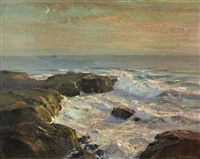 coastal scene, possibly land's end by julius olsson