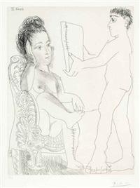 jeune homme présentant un miroir, ou un portrait, à une femme, from la série 347 by pablo picasso