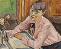 jeune femme à l'écriture by georges andre klein