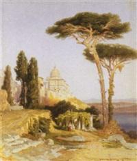 veduta di castelgandolfo con lago di albano, 1864 by karl august lindemann-frommel