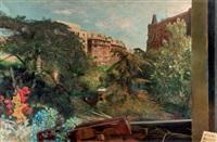 vista de madrid con alegoría musical by manuel alcorlo
