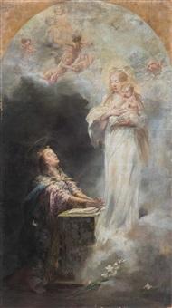 maria mit kind erscheint betender königin by laszlo hegedus