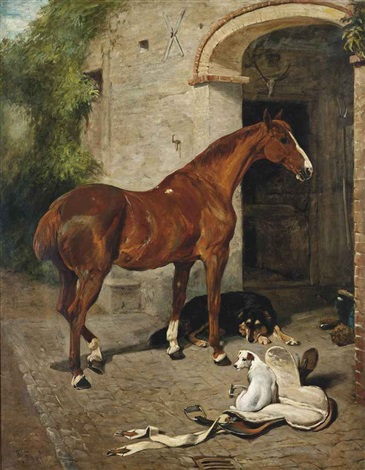 a chestnut hunter with a collie and jack russell before a stable by john emms