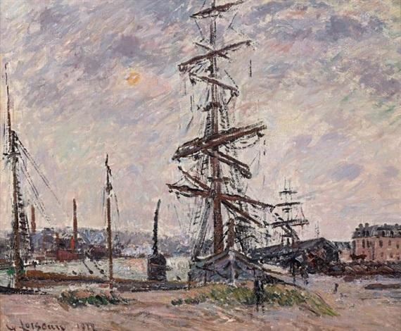 le havre bateaux dans le port by gustave loiseau
