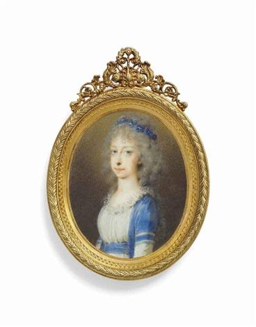 archduchess maria clementine of austria 1777 1801 in blue surcoat over white dress blue floral wreath in her powdered hair by friedrich heinrich füger