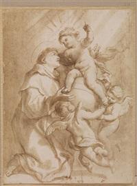 apparizione di gesù bambino a sant'antonio da padova by domenico piola