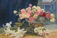 oppstilling med liljer og roser by wilhelm peters