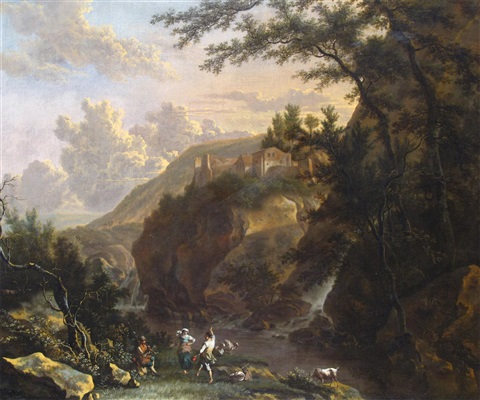 an italianate landscape with figures making merry by a river at dusk by frederick de moucheron