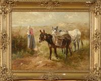 fermière et ses ânes dans les dunes by henry schouten