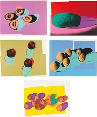 space fruit: still lifes: five prints (5 works) by andy warhol