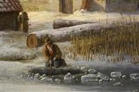 ijsvissers op zonnige winterdag niet get by andreas schelfhout