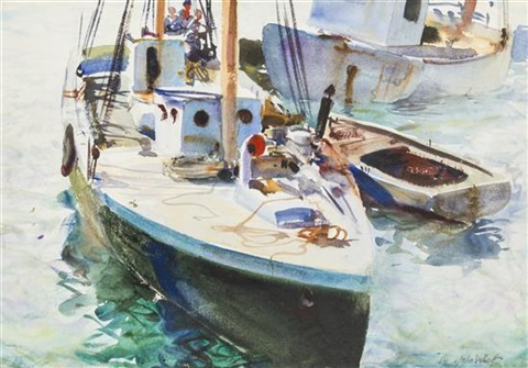 fishing boats provincetown harbor by john whorf
