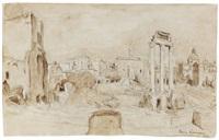 forum romanum (rom) (+ landschaftsskizze, verso) by hans purrmann