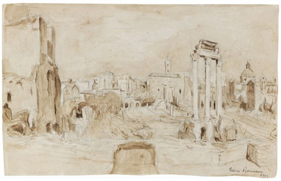 forum romanum rom landschaftsskizze verso by hans purrmann