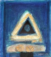 gunungan emas di atas biru by ahmad sadali