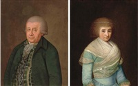 portrait of a gentleman, standing, in a green coat (+ portrait of a lady, standing, in a blue dress with a white wrap, a pearl tiara in her hair, 1793, signed; pair) by franz conrad (francois) loehr
