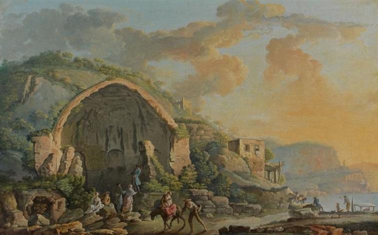 caprice architectural animé avec le temple de diane et caprice architectural animé avec le tombeau de virgile pair by carlo bonavia
