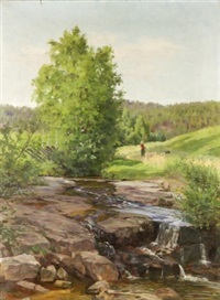 landskap med vårbäck och flicka by jacob gloersen