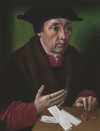 portrait of a gentleman in a fur-trimmed black mantle and hat, his left hand on a wooden table with a carnation and papers by ambrosius benson