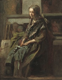 meisje in het atelier (trijntje toet): posing for the artist by matthijs maris