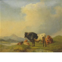 cows in a meadow, a lake in the distance by joseph heicke