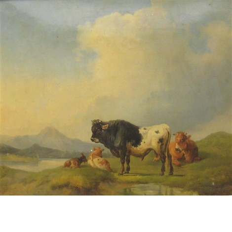 cows in a meadow a lake in the distance by joseph heicke