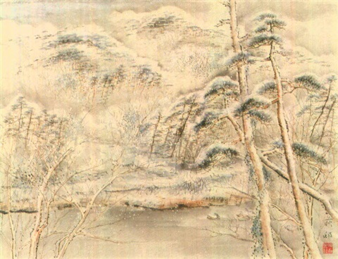 arashiyama in spring snow by zenjiro uda