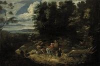 a hunting party in a wooded landscape by lambert de hondt the younger