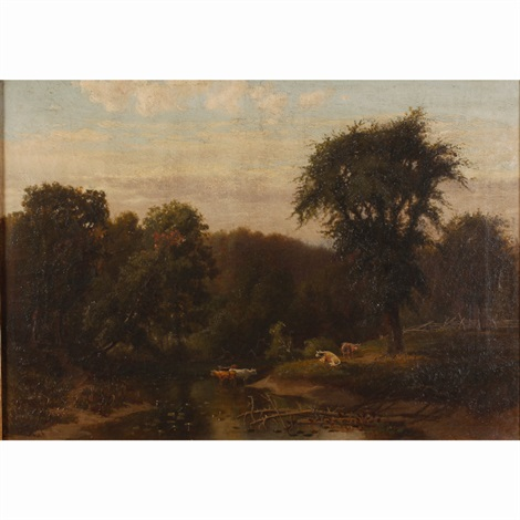 barbizon style pastoral scene by charles warren eaton