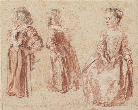 two studies of a young child standing and another of a young girl seated by jean antoine watteau