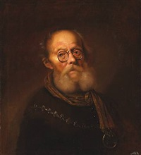 an old man wearing spectacles. an allegorical representation of the sight (collab. w/ workshop) by karel van mander iii