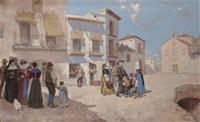 reunión en la plaza del pueblo by enrique atalaya