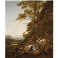 a wooded hilly landscape with shepherds resting with their herd, other figures preparing a meal above a fire to the right by adam de colonia
