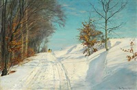 sunny winter day with sledge riding by christian peder mørch zacho
