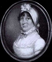 a lady, wearing white dress with lace trim and high lace collar, her white bonnet also trimmed with lace rosette by n. (j.t.) freese