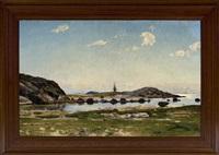 klippigt kustlandskap vid varberg med segelfartyg och fyrtorn by olof krumlinde