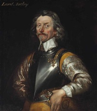 portrait of jacob astley, 1st baron astley of reading (1579-1652), half-length, in an embroidered grey coat and breastplate, his left hand... by william dobson