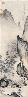 竹溪隐士图 镜框 设色纸本 by chen shaomei