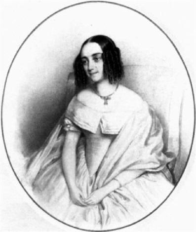 portrait einer dame mit korkenzieherlokken by josef bekel