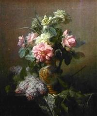 vase de fleurs posé sur un entablement by jean marie reignier