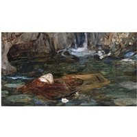 study for nymphs finding the head of orpheus by john william waterhouse