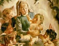 la virgen maría con el niño y querubines by josep obiols