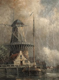 canal scenes with windmills, a pair by louis van staaten