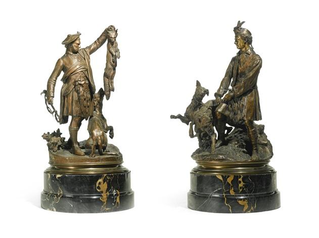 écossais montrant un renard à un chien and valet de chiens tenant deux griffons écossais 2 works by pierre jules mêne